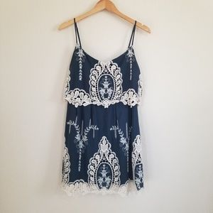 Ark & Co Navy Embroidered Dress Large